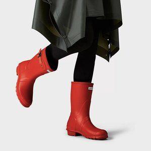 Hunter orange original short rubber rain boots